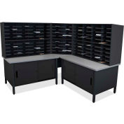 "Marvel® 100 Slot Mailroom Organizer with Cabinet, 66""H x 78""W, Black"