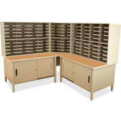 "Marvel® 100 Slot Mailroom Organizer with Cabinet, 66""H x 78""W, Putty"