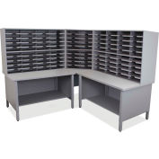 "Marvel® 100 Slot Mailroom Organizer, 2 Storage Shelves, 66""H x 78""W, Slate Gray"