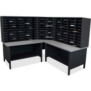 "Marvel® 100 Slot Mailroom Organizer, 2 Storage Shelves, 66""H x 78""W, Black"