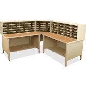 "Marvel® 50 Slot Mailroom Organizer, 2 Storage Shelves, 52""H x 78""W, Putty"