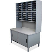 "Marvel® 40 Slot Mailroom Organizer with Cabinet, Riser, 84""H x 48""W, Slate Gray"