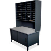 "Marvel® 40 Slot Mailroom Organizer with Cabinet, Riser, 84""H x 48""W, Black"