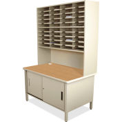 "Marvel® 40 Slot Mailroom Organizer with Cabinet, Riser, 84""H x 48""W, Putty"