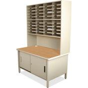 "Marvel® 40 Slot Mailroom Organizer with Cabinet, Riser, 84""H x 48""W, Putty"
