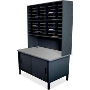 "Marvel® 40 Slot Mailroom Organizer with Cabinet, Riser, 84""H x 48""W, Black"