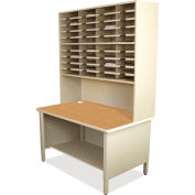 "Marvel® 40 Slot Mailroom Organizer, 1 Storage Shelf, Riser, 84""H x 48""W, Putty"