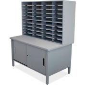 "Marvel® 40 Slot Mailroom Organizer with Cabinet, 72""H x 48""W, Slate Gray"