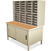 "Marvel® 40 Slot Mailroom Organizer with Cabinet, 72""H x 48""W, Putty"