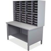 """Marvel® 40 Slot Mailroom Organizer, 1 Storage Shelf, 72""""H x 48""""W, Slate Gray"""
