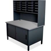 "Marvel® 20 Slot Mailroom Organizer with Cabinet, Riser, 68""H x 48""W, Black"