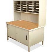 "Marvel® 20 Slot Mailroom Organizer with Cabinet, Riser, 68""H x 48""W, Putty"