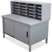 "Marvel® 20 Slot Mailroom Organizer with Cabinet, 52""H x 48""W, Slate Gray"