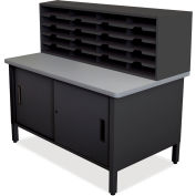 "Marvel® 20 Slot Mailroom Organizer with Cabinet, 52""H x 48""W, Black"