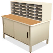 "Marvel® 20 Slot Mailroom Organizer with Cabinet, 52""H x 48""W, Putty"
