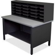 """Marvel® 20 Slot Mailroom Organizer, 1 Storage Shelf, 52""""H x 48""""W, Black"""