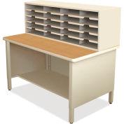 """Marvel® 20 Slot Mailroom Organizer, 1 Storage Shelf, 52""""H x 48""""W, Putty"""