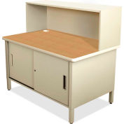 "Marvel® Mailroom Utility Table with Cabinet, Riser, 52""H x 48""W, Putty"