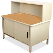 """Marvel® Mailroom Utility Table with Cabinet, Riser, 52""""H x 48""""W, Putty"""