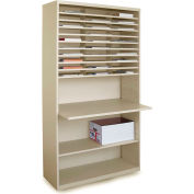 """Marvel® Mail Sorter with Adjustable Work surface, 80""""H x 42""""W, Putty"""