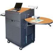 Media Center Cart With Lectern and Steel Door - Dark Neutral Finish/Oak Laminate