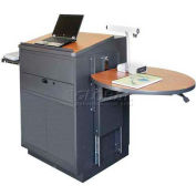 Media Center Podium / Lectern with Steel Door, Stationary - Dark Neutral Finish / Cherry Laminate