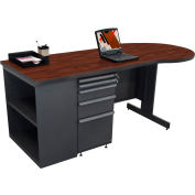 "Marvel® Teachers Desk with Bookcase - 75""W x 30""D - Dark Neutral/Mahogany"