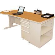 "Marvel® Teachers Desk with Bookcase - 87""W x 30""D - Pumice/Solar Oak"