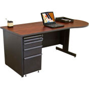 "Marvel® - 72""W Teachers Conference Desk, Dark Neutral/Mahogany"