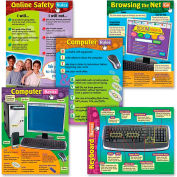 """Trend® Computer Skills Learning Charts, 17"""" x 22"""", 5 Charts/Pack"""