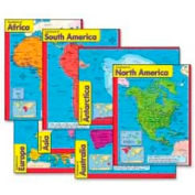 "Trend® Continents Learning Charts, 17"" x 22"", 7 Charts/Pack"