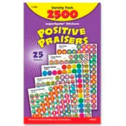 Trend SuperSpots Positive Praisers Sticker, TEPT1945, Assorted Colors, 2500 Stickers/Pk