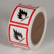 "INCOM® GHS1307 GHS ""Flame Hazard"" Pictogram Label, 2"" x 2"", 500/Roll"