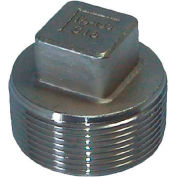 "Trenton Pipe Ss316-67010 1"" Class 150, Cored Square Head Plug, Stainless Steel 316 - Pkg Qty 25"