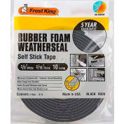 """Frost King Sponge Rubber Foam Tape - 3/8"""" W X 3/16"""" D X 10' L, Black - Pkg Qty 24"""