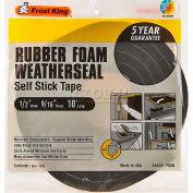 """Frost King Sponge Rubber Foam Tape, 1/2"""" W X 9/16"""" D X 10' L, Black - Pkg Qty 24"""
