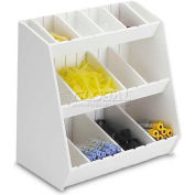 """TrippNT™ White PVC Storage Bin with 16 Adjustable Compartments, 12""""W x 7""""D x 12""""H"""
