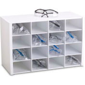 "TrippNT 50059 16 Compartments Safety Glasses Holder, PVC, White, 18""W x 12""H x 8""D"