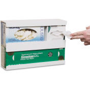"TrippNT 50062 Wide Combo Glove And Kimwipe Dispenser W/ Tape Mount, 16"" W x 11"" H x 4"" D, White, PVC"