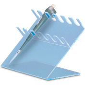 "TrippNT 50176BLUE 6 Slot Slanted Auto Pipettor Holder, 11"" W x 9"" H x 7"" D, Blue, Acrylic"
