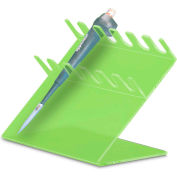 "TrippNT 50176GREEN 6 Slot Slanted Auto Pipettor Holder, 11"" W x 9"" H x 7"" D, Green, Acrylic"