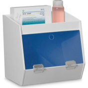 """TrippNT™ White PVC Storage Bin with 2 Compartments and 1 Shelf, Blue Door, 11""""W x 9""""D x 10""""H"""