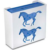 """TrippNT 50926 Horse Double Glove Box Holder & Dispenser, 11"""" W x 10"""" H x 4"""" D, White, Styrene"""