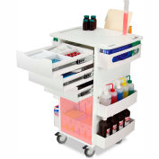 "TrippNT 51007RED White Core DX Organizing Cart with Red Sliding Door 23""W x 35""H x 19""D"