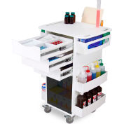 "TrippNT™ White Core DX Organizing Cart with Smoke Sliding Door, 23""W x 19""D x 35""H"