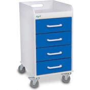 "TrippNT™ 51080 Compact 4 Drawer Locking Medical Cart, Global Blue, 14""W x 19""D x 27""H"