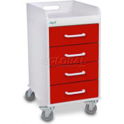 """TrippNT™ 51081 Compact 4 Drawer Locking Medical Cart, Cherry Red, 14""""W x 19""""D x 27""""H"""