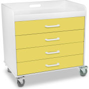 "TrippNT™ 51133 Extra Wide Compact Locking 4 Drawer Cart 27"" x 19"" x 27"" Bright Idea Yellow"