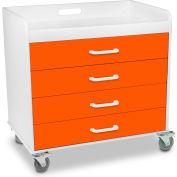 "TrippNT™ 51361 Compact Locking 4 Drawer Cart - Extra Wide 27"" x 19"" x 27"" Pumpkin Orange"