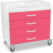 "TrippNT™ 51363 Compact Locking 4 Drawer Cart - Extra Wide 27"" x 19"" x 27"" Watermelon Pink"